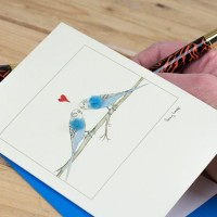 Budgies in love card - blue