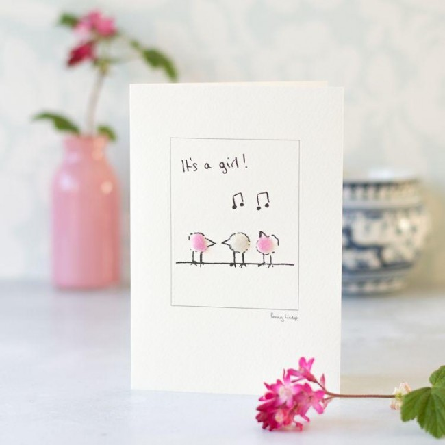 Birds new baby card in pink