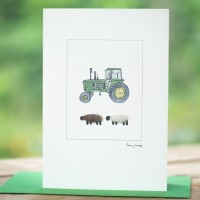 Sheep and John Deere tractor card