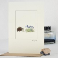 Hedgehog and flowers card