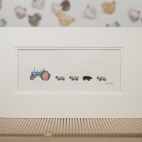 E10A22 - Old Blue Ford Tractor and Sheep print