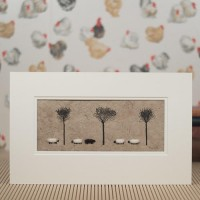 E10A35 - 5 Sheep And Willow Trees print