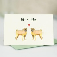 Mini Pug Mr & Mrs card