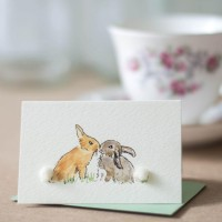 Mini Rabbits kissing card