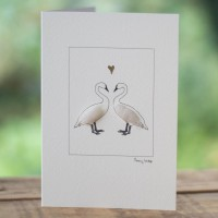 Swans in love card
