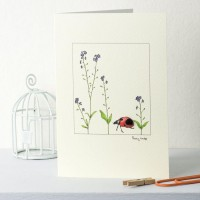 Ladybird and forget me nots card