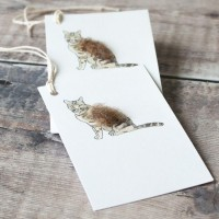 Gift Tags, with string - Cat tabby