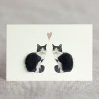 Mini Cats black & white in love card