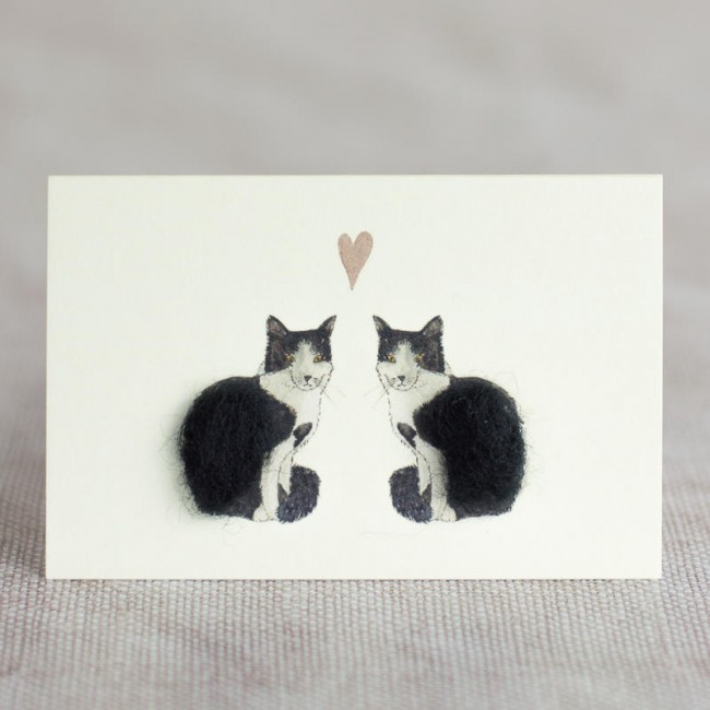 Mini Cats Black White In Love Card Penny Lindop Trade