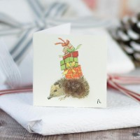 Christmas Gift Tag - Hedgehog and presents