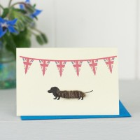 Mini Dog1C - Dachshund Under Union Flags