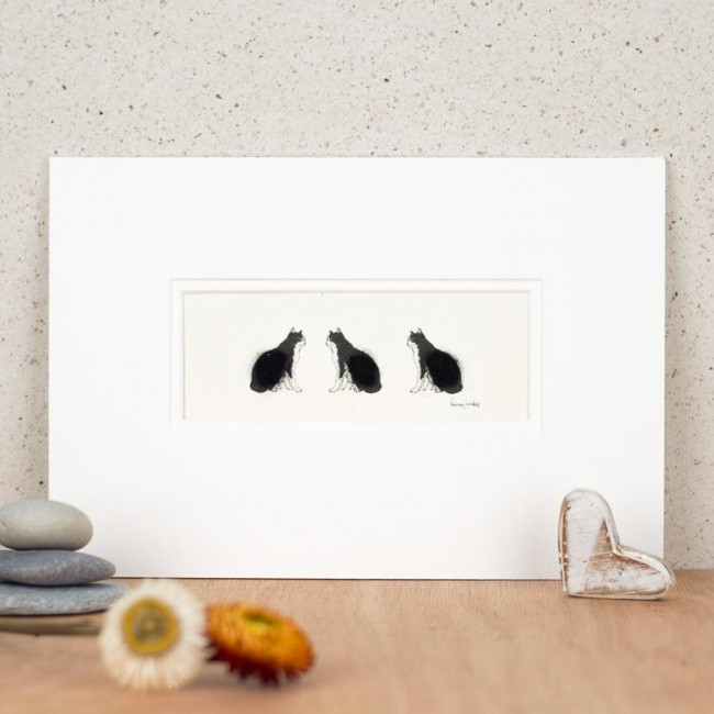3 Black and white cats print