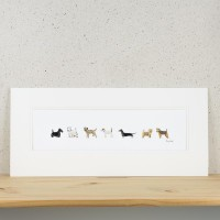 F20A10 - Long Row Of 7 Little Dogs print