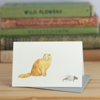 Cat Gift Card - Ginger cat & mouse