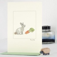 Rabbit and carrots card