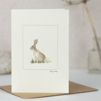 Hare in the grass card