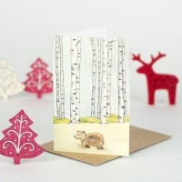 Mini Bear and Winter trees card