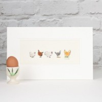 E13F10 - Assorted Chickens print