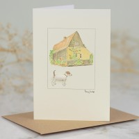Jack Russell by barn card