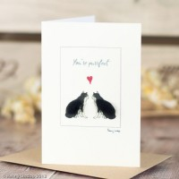 Cat black and white'you're purrfect' card