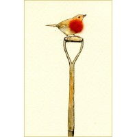 Mini Bird Robin on a spade card