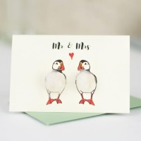 Mini Puffins Mr & Mrs card