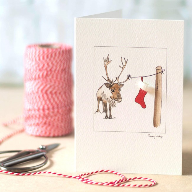 Reindeer and Christmas Stocking Christmas card