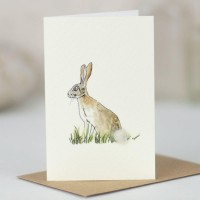 Mini Hare in grass card