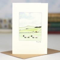 Sheep in landscape card
