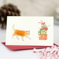 Mini Cat ginger and presents card