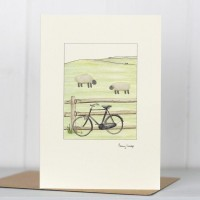 Sheep and bicycle card