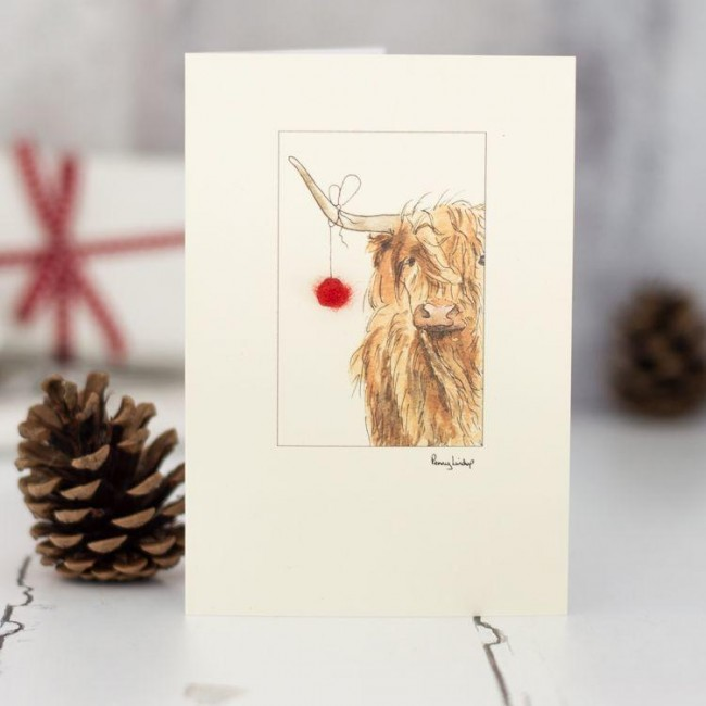 Highland cow and bauble Vhristmas card