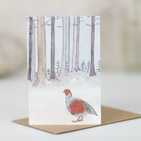 Mini Grouse in woodland card