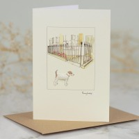 Jack Russell by city garden railings card
