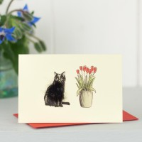 Mini Cat13 - Black Cat ann Tulips