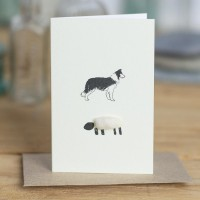 Mini Sheep and collie card
