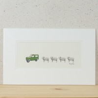 Print - Herdwick Sheep and Land Rover
