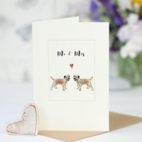 Border terrier Mr and Mrs card