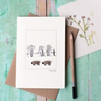 Sheep and ink treeline card