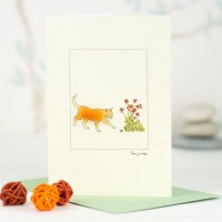 Cat Card - Ginger cat and flowers