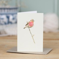 Mini Bird Winchat on branch card