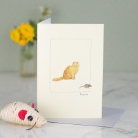 Cat Ginger and mouse greeting card