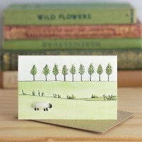 Mini Sheep and line of trees card