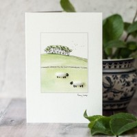 Sheep under copse on hill card