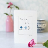 Birds new baby card in blue