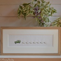 F10A27 - Land Rover and a long row of sheep print