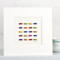 Flock of 20 bright sheep print