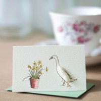 Mini Duck Indian Runner with daffodils card