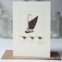 Wherry and sandpipers card