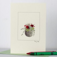 Flowers red in a pot card